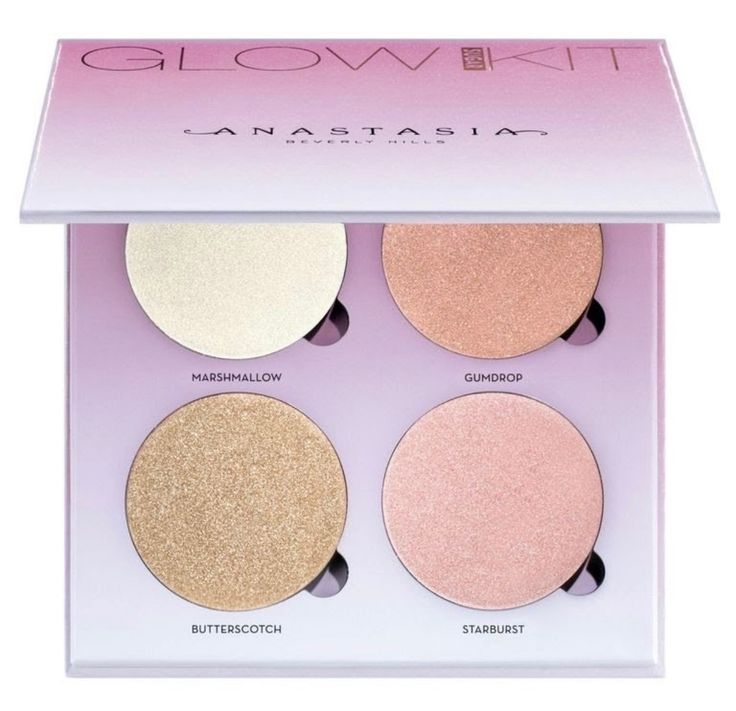 """New Anastasia Beverly Hills Holiday Collection-Sugar Glow Kit- If you recognize a few of the shades, that's because """"Marshmallow,"""" """"Butterscotch,"""" and """"Starburst"""" are favorites from other kits, and they're now packaged all in one quad. The new shade, """"Gumdrop,"""" is described as a duo chrome pink lilac."""