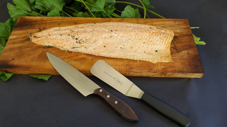 Scottish salmon cooked on cedar planks and brushed with dill butter by Fabulous BBQ.