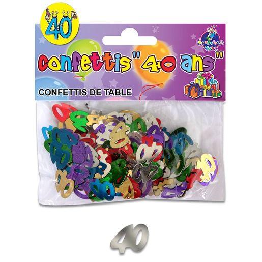 Sachet de confettis de table Anniversaire 40 ans - 12 x 10 cm - Multicolore