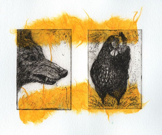 Coyote and chicken: etching with yellow chine colle. I like the texture of the chine colle paper here.