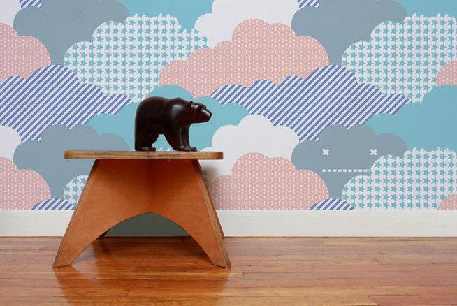 175 - Clouds Wallpaper in Sunshine design by Aimee Wilder