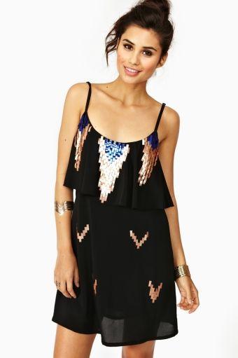 Aztec Sequin Dress in Black