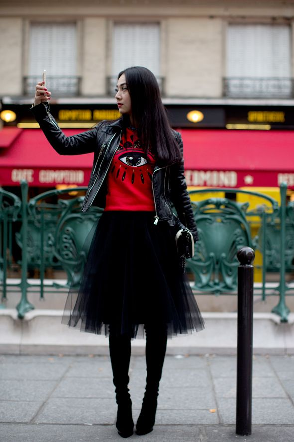 handbag on sale online At Kenzo  Paris  black tulle skirt  black boots  amp  biker jacket with a graphic tee