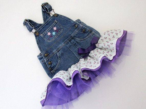 Baby 12M overall tutu. Recycled overalls with by Morgansolen