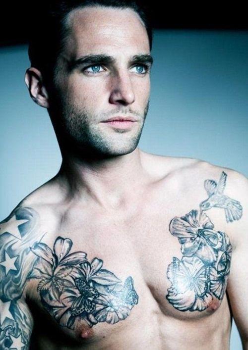 Chest Flowers Tattoos For Men