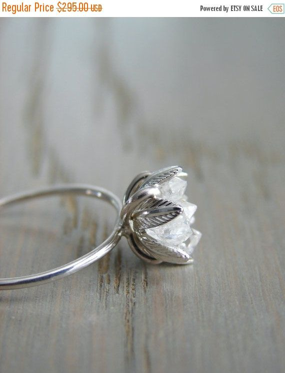 Raw Herkimer Diamond Ring, Organic Natural Stone Jewelry, Raw Crystal Ring for Her, Engagement Ring, Wife Anniversary, Girlfriend Gift