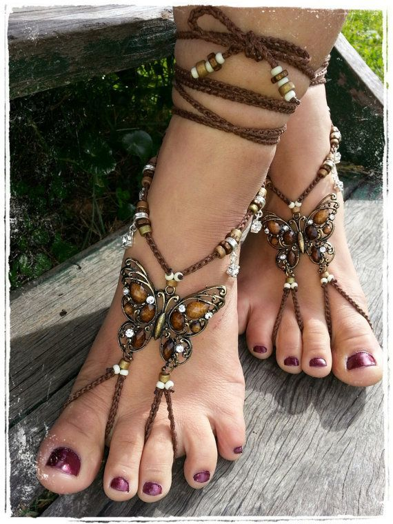 BAREFOOT sandals, tribal belly Dance foot jewelry