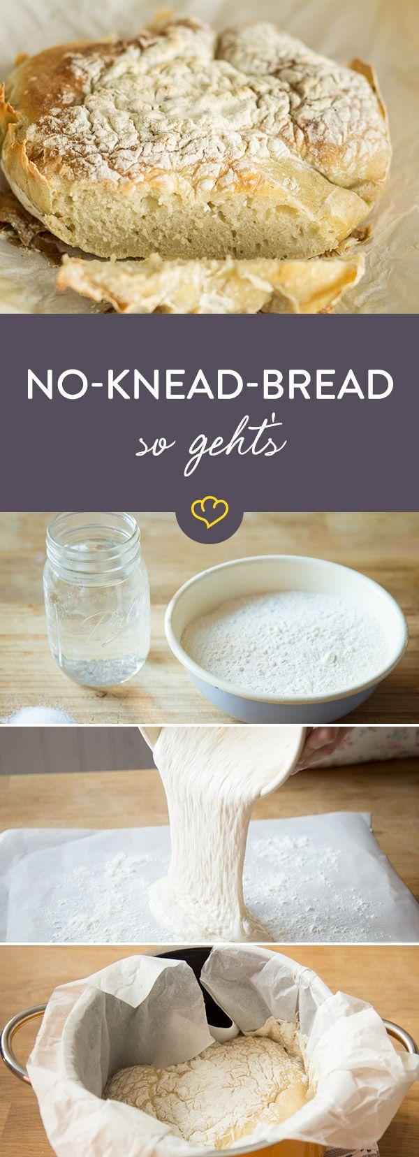Brot selber backen ist viel Aufwand? Von wegen. Ganz ohne Kneten backst du das leckere No-Knead-Bread zu einem knusprigen Brot.