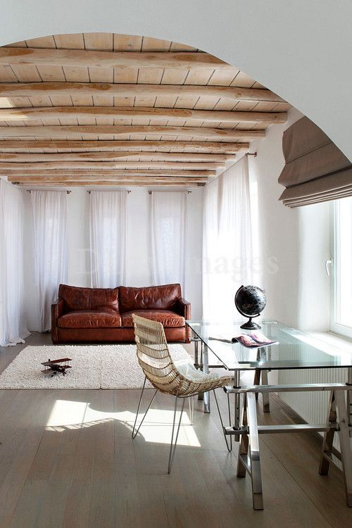 Save Image As...: Leather Couch, Leather Sofas, Bridal Hairstyles, Interiors Design, Workspaces, Wood Ceilings, Wood Slats, Modern Interiors, Wood Beams