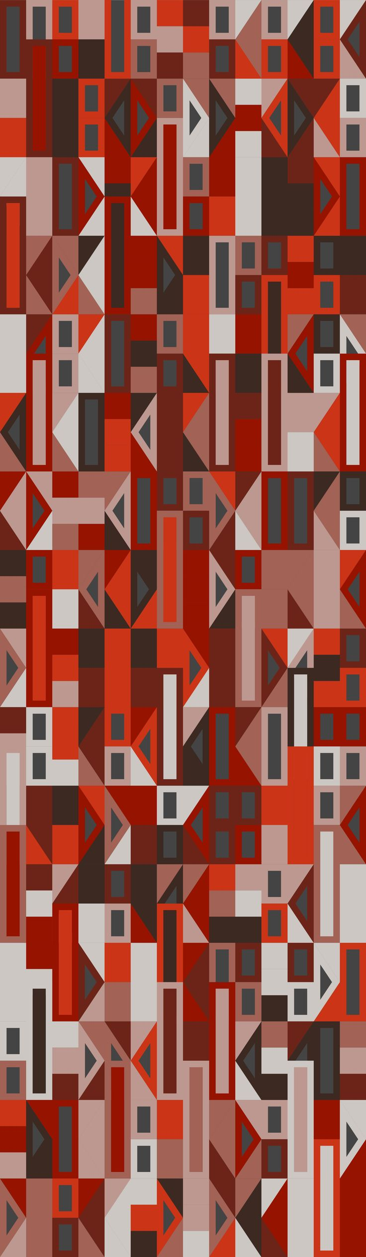 Russfussuk bergundy extravaganza geometric repeating pattern M1A #pattern #patterndesign #patternprint #autumn #fall #orange #shapes #grid #orange