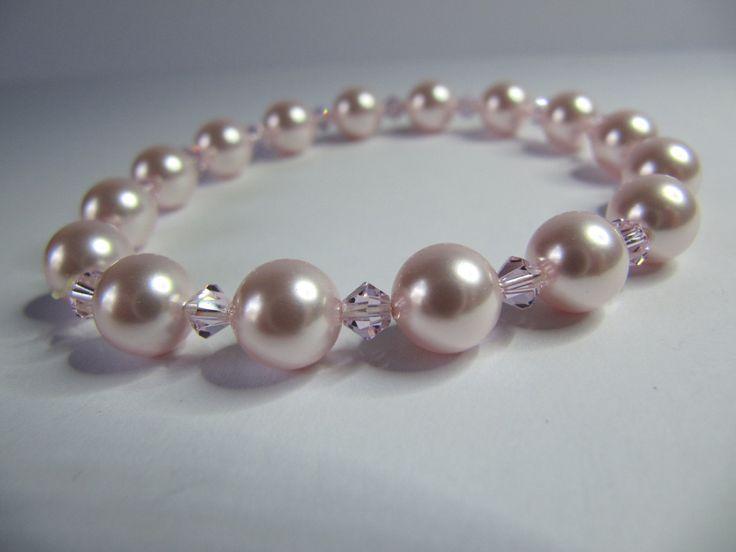 Pink Swarovski Pearls & Crystals Bracelet, Stretch Bracelet, Glass Pearls, Crystals Beads, One size. by BobbyandMeSew on Etsy