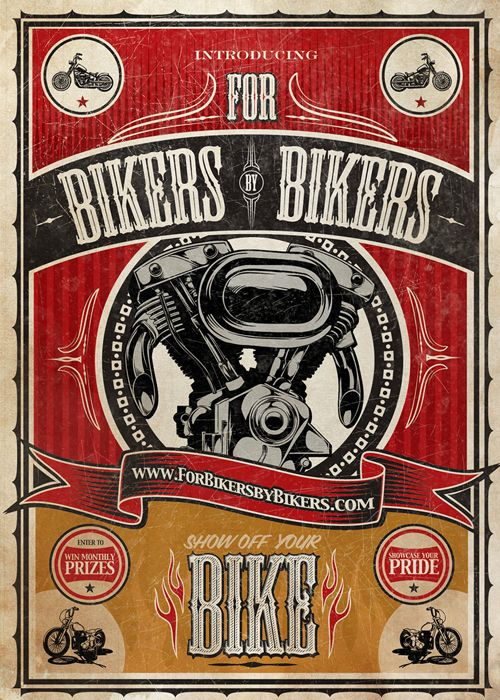 For Bikers By Bikers: Motorcycles, Poster Design, Flyers, Bike Poster, Bikers Bikers, Flyer Design, Bikers Poster, Design Posters