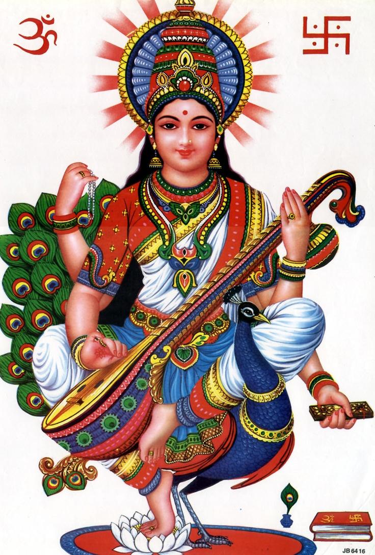 Love the bold colors. | Saraswati goddess, Hindu gods ...