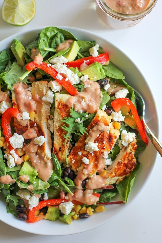 Hummus Marinated Grilled Chicken Salad with Hummus-Salsa Dressing #hummus #chicken #salad