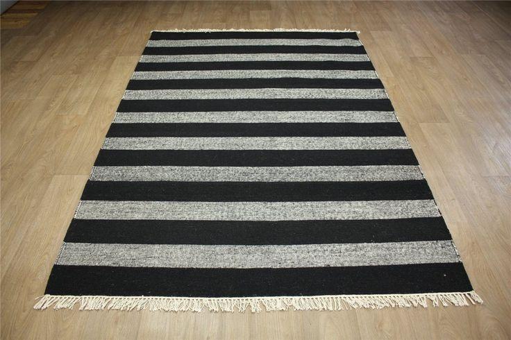 Czarno-biały dywan Kashba 48205 kilim 100% welniany 170x240cm Indie -50%