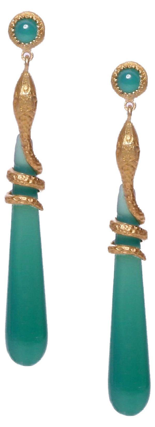 Snake Drop Earrings, Green Onyx | Most Wanted | One Kings Lane