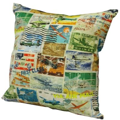 Aviation Stamps. An exclusive Design Art House cushion range.  Made in Australia from imported fabric. www.designarthouse.com.au