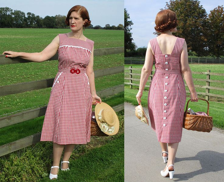 1940s Ethically Produced Dress created using 100% organic gingham cotton and an original 1940s pattern