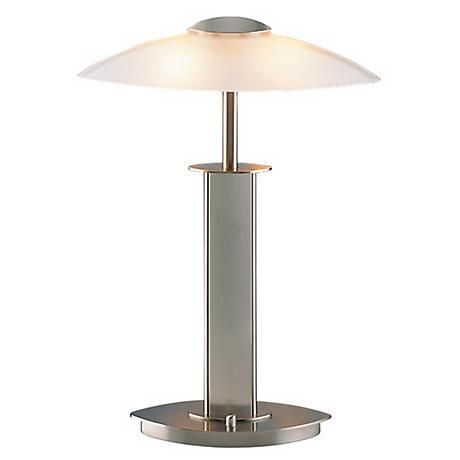 From the makers of the ultimate lighting machines, this halogen desk lamp by Holtkoetter comes in a sleek satin nickel finish.
