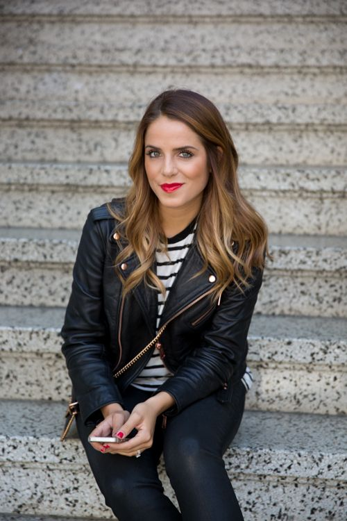 black leather jacket, black and white stripes, red lips