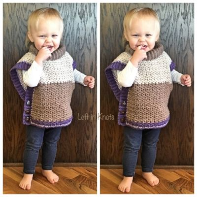 This toddler-sized poncho sweater works up beautifully using the NEW Caron  Cakes yarn.                                                                                                                                                                                 More