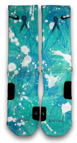 Ovarian Cancer A Splash of Teal Nike Custom Elite Socks on Wanelo