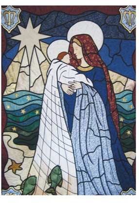 Stained glass quilted banner by Gail Lawther, for the Church of Our Lady Star of the Sea and St Maughold Church on the Isle of Man