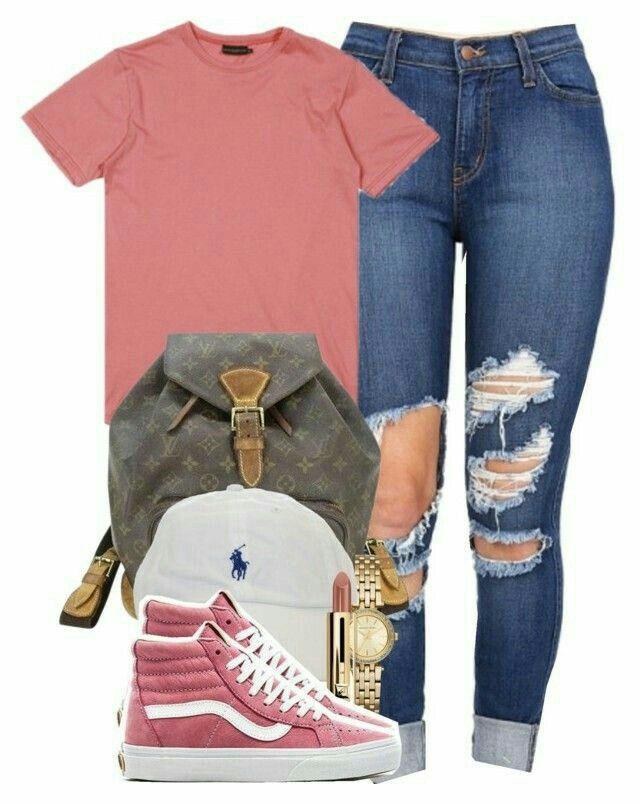 pink sk8 hi vans outfit
