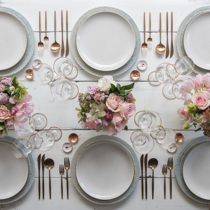 Dusty Blue Lace Chargers + Heath Ceramics in Opaque White + Moon Flatware in Rose Gold + 24k Gold Rimmed Stemware + White Enamel/Copper Salt Cellars + Tiny Copper Spoons [Casa de Perrin]