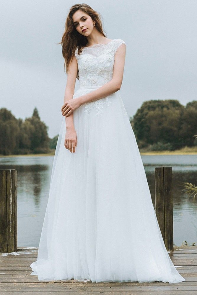 43b20aefff Shop affordable Simple Lace A Line Boho Beach Wedding Dress Long Tulle  Flowy With Cap Sleeves 2018 online. Custom-made any plus size or color.