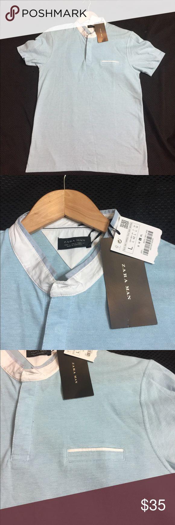 Zara Man T Shirt large light Blue/White one pocket New with tag light blue and white t shirt with one pocket large Zara Shirts Polos