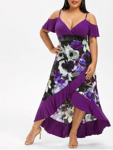 Plus Size High Low Cold Shoulder Ruffle Dress