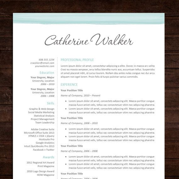 Beautiful Professional Resume Template Design & Cover Letter / MS Word / Instant Download - Blue