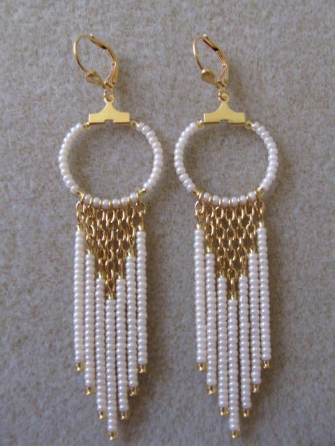Seed Bead Chain Hoop Earrrings - Pearl Cream