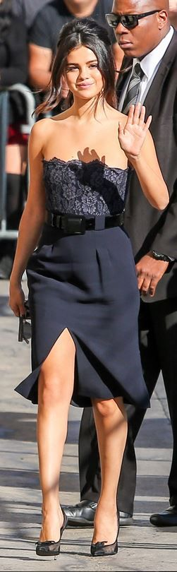 Who made  Selena Gomez's black cap toe pumps and scallop blue lace dress
