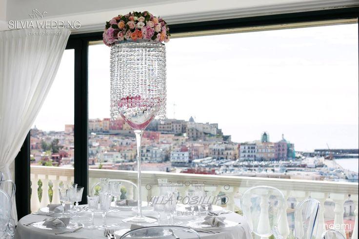 Centrotavola luccicante per matrimonio da sogno a Villa Posillipo