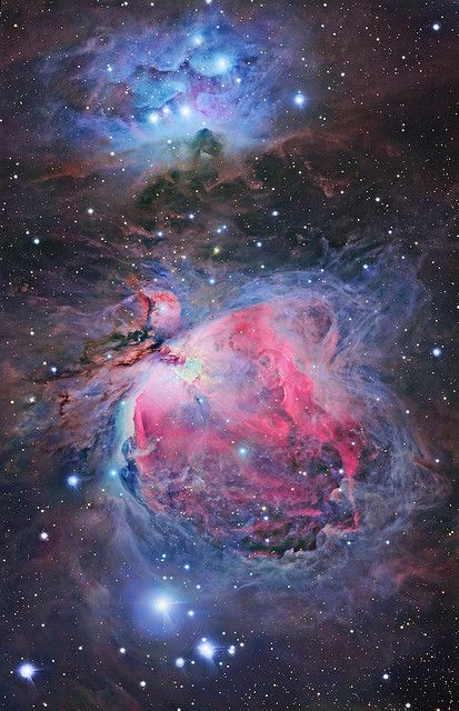 The Sword of Orion - the three stars that make up the weapon hanging off the belt of this famous celestial hunter. The image showcases the amazing mix of physical and optical processes including atomic emission, Rayleigh scattering, reflection and absorbtion of light, that go on in this star forming region to create this kaleidescope of colours and details.