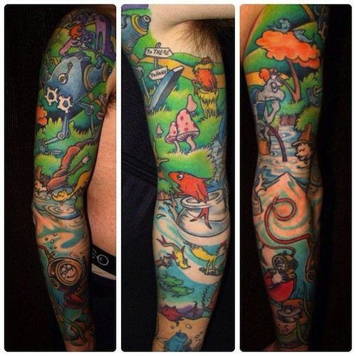 This seuss sleeve represents some of the best books dr for Random tattoo sleeve