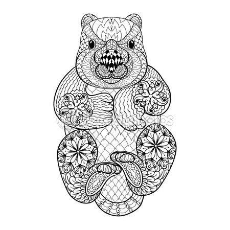 Hand drawn tribal Wombat, animal totem for adult Coloring Page i — Vector de stock