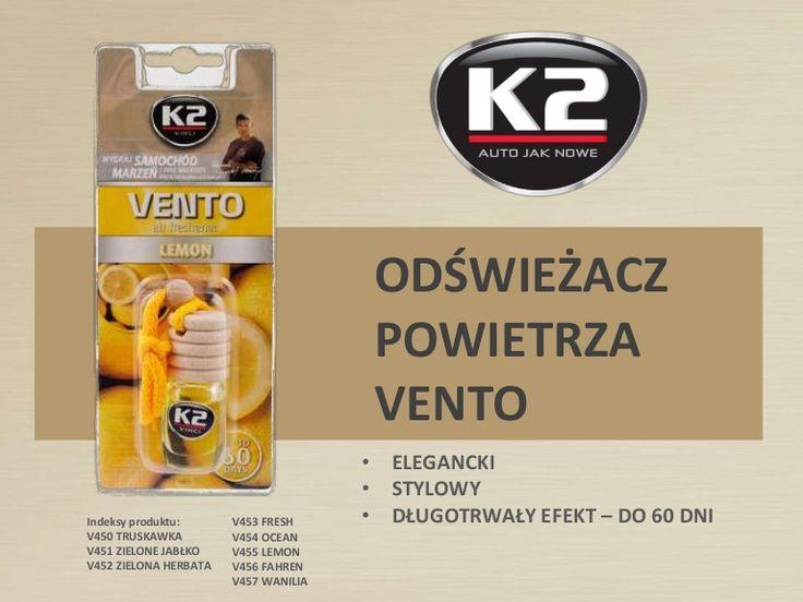 Świeży zapach w aucie nawet przez 60 dni? Poznaj K2 Vento w 8 rewelacyjnych wersjach zapachowych! Zobacz:  http://www.slideshare.net/k2compl/odswiezacz-powietrza-k2-vento-v450-v451-v452-v453-v454-v455-v456-v457