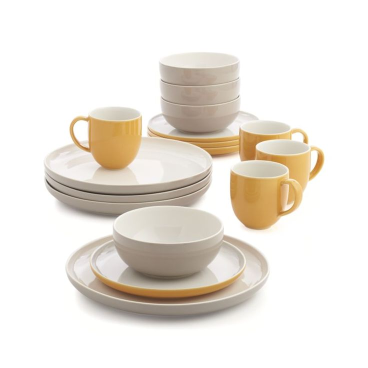 Clean, cool remix of mid-century modern, re-imagined for the contemporary table in a three-tone color palette of bone white, mist grey and sunglow orange.  Iconic shapes counterpoint with the curvy asymmetry of retro-inspired serving pieces.  A bright and creative contrast with more traditional dinnerware. $108 SALE Need 3