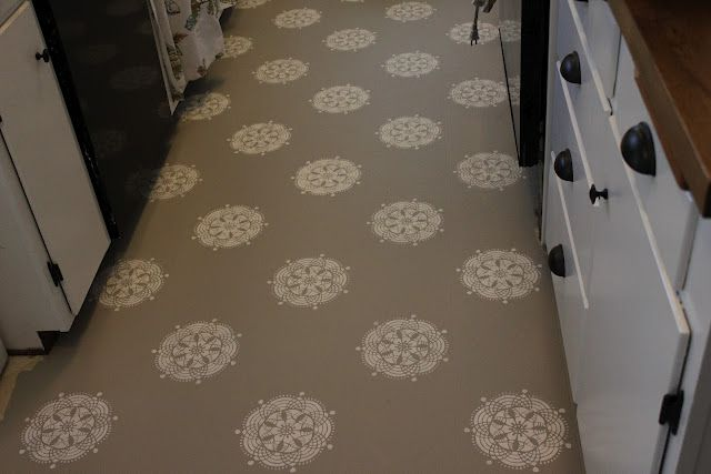 painted linoleum floor! (A Warm Conversation: Work with what you GOT-Painted Kitchen Floors)