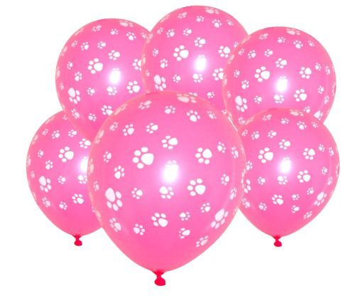 Paw-Print-Pink-Latex-Balloons-x-6-Paw-Patrol-Scooby-Doo-Pound-Puppies-Decoration