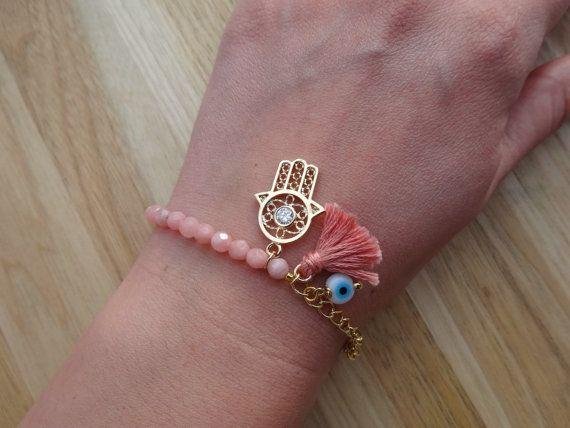 Evil Eye Beaded  Hamsa Bracelet - Pink Peruvian Opal Bracelet - Tassel Bracelet