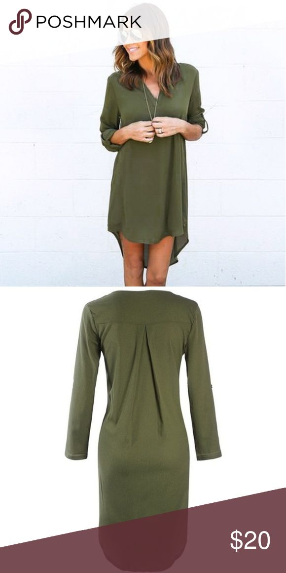 💚NEW💚 Army Green Shirt Dress Super flattering dress! High low hem line, v-neck, darts in the back, and sleeves can be rolled up and buttoned. Dresses High Low