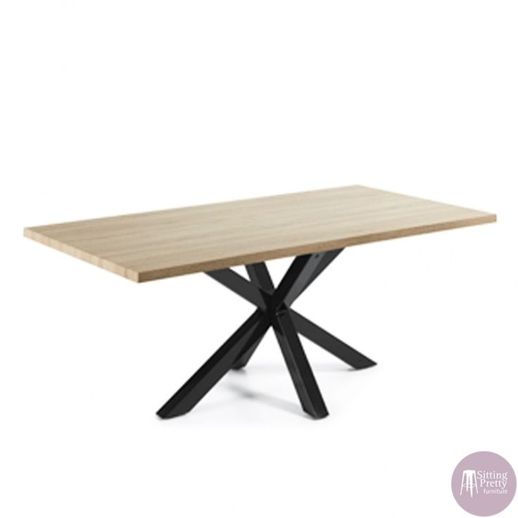 Sitting Pretty Furniture   Arya Table   Natural Top/Black Legs 200cm