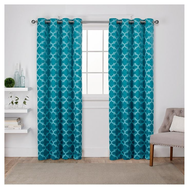 """Cartago Insulated Woven Blackout Grommet Top Window Curtain Panel Pair Teal (Blue) (54""""x108"""") - Exclusive Home"""
