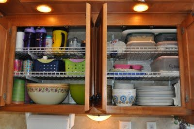 I need to remember to do this in the new trailer to make the most of the less-than-ideal cabinet space!