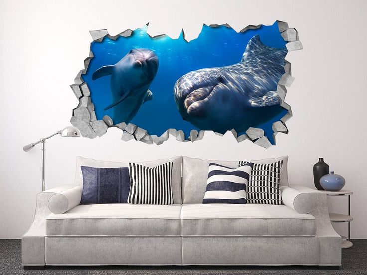 Apply this Dolphins Hello 3D Broken Wall in any flat surface (walls, windows, doors, furniture).  Decor vinyl for your home.  If you are the kind of person that are looking for a piece of art in y…