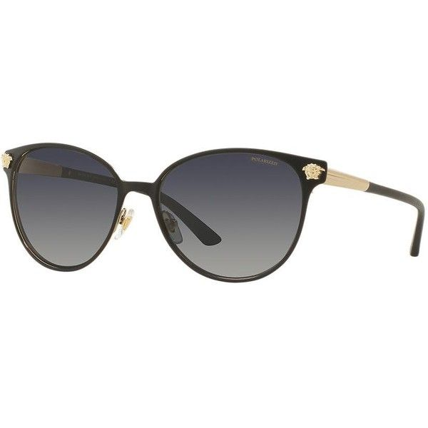 Versace Ve2168 57 Black Round Sunglasses (1.875 HRK) ❤ liked on Polyvore featuring accessories, eyewear, sunglasses, embellished sunglasses, versace, round frame sunglasses, versace glasses and round sunglasses